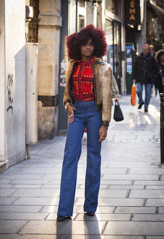70's Style Femme avec pantalon large